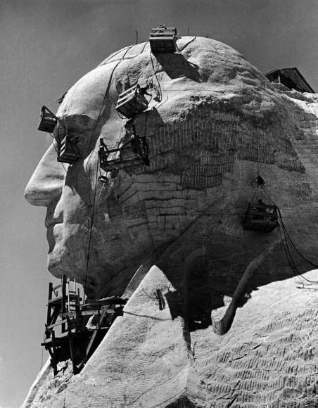 Construction of George Washington section of Mt. Rushmore Monument, 1940