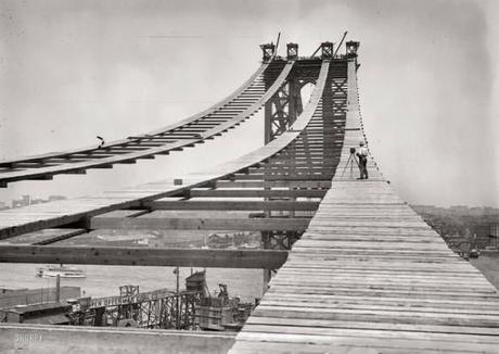 Construction of the Manhattan Bridge in 1908