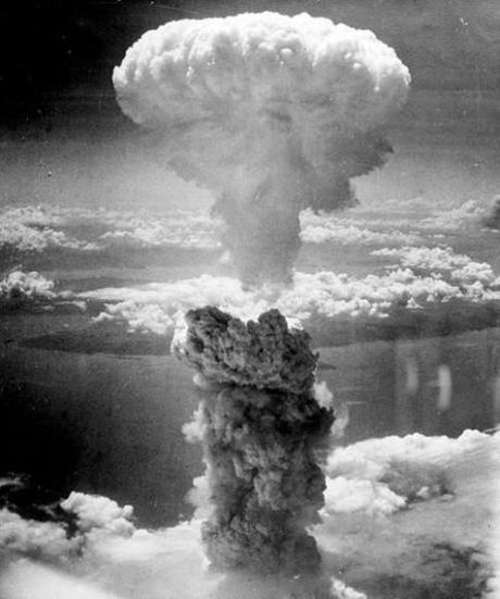 Atomic mushroom rising over Nagasaki, August 1945