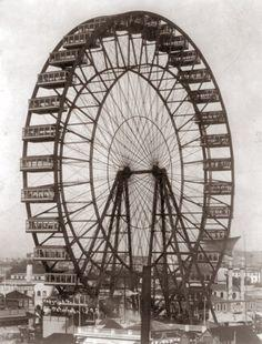 The first Ferris Wheel as exhibited at the Columbian Exposition World's Fair in Chicago's White City. (1893)