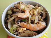 Salade champignons, oignons crevettes
