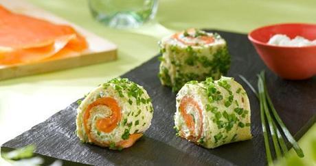 Roulé de saumon fumé, concombre et ciboulette