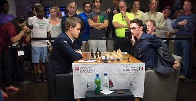 La perspective d'un match de championnat du monde d'échecs entre Magnus Carlsen (n°1 mondial) et Fabiano Caruana se dessine pour le plus grand développement du jeu d'échecs dans le monde © Lennart Ootes