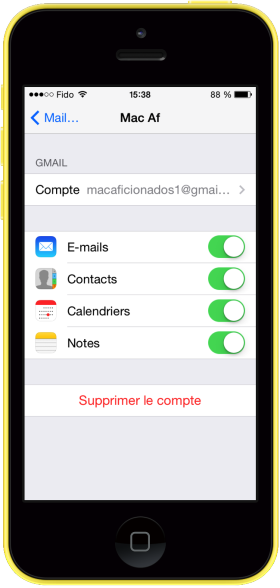 Suppression Mail iOS 8