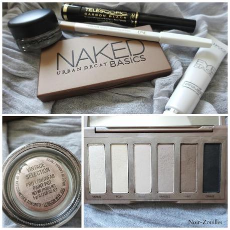 maquillage yeux tuto naked basics urban decay telescopic l'oreal mascara mac paintpot vintage selection, kiko eye base, Une crayon