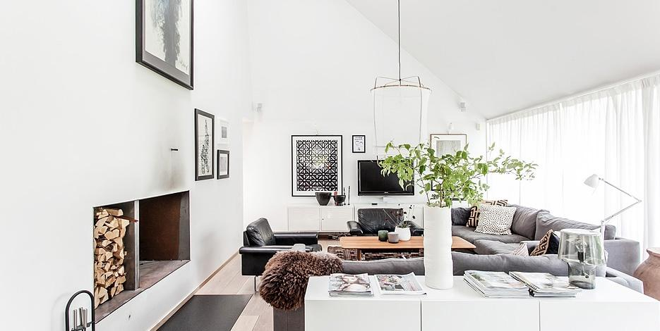 Black/white/wood/grey and a green plant