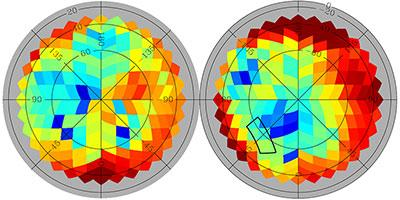 Planck sky map, colour-coded by amount of B-mode polarization generated by dust