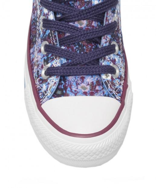 PURPLE FLORAL PRINT CHUCK TAYLOR HI TOP TRAINERS