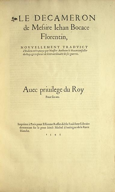 Boccace titre Edition originale de l'illustre traduction du Décaméron