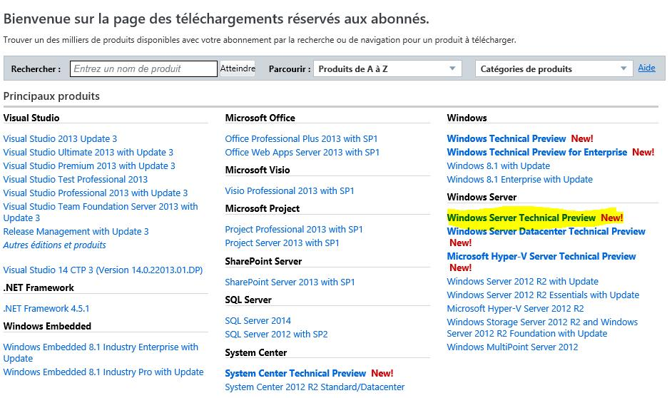 Windows Server Technical Preview disponible via MSDN