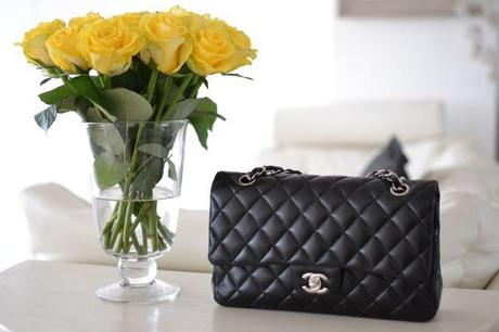 Chanel Timeless Bag and yellow roses