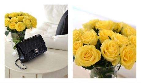 Chanel bag and yellow roses