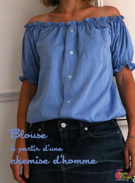 blouse recyclee chemise homme DIY : une blouse à partir dune chemise dhomme