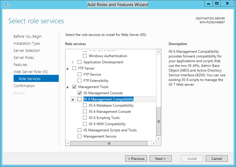 II6 Management Compatibility présente dans Windows Server Technical Preview avec IIS8