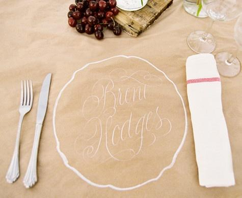 kraft paper tablecloth placecard