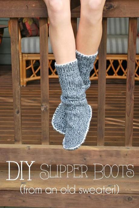 chausson chaussette pull DIY : des chaussons chaussettes dans un pull à recycler