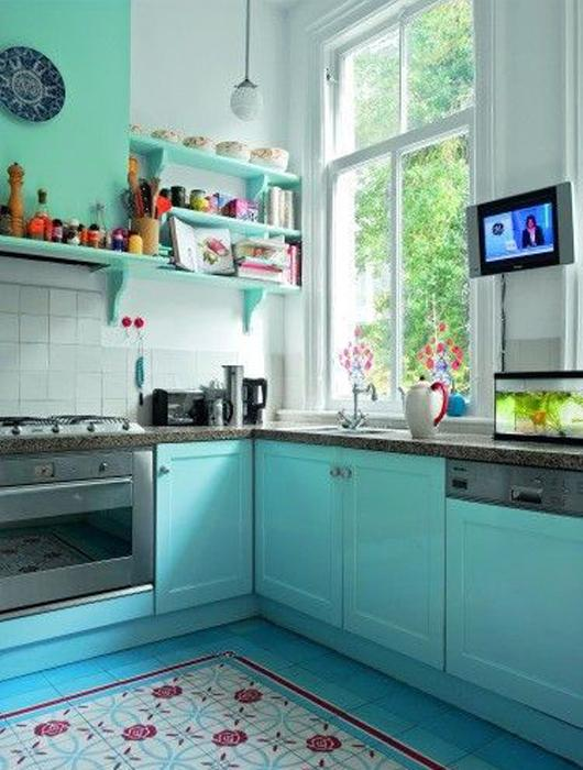 Idées De Cuisine Bleue Paperblog - Carrelage bleu canard pour idees de deco de cuisine