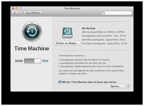 Préférences Time Machine sauver Mac