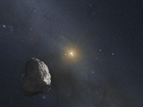 Illustration d'un «objet de la ceinture de Kuiper» (KPO). Hubble a permis de détecter trois candidats d'environ 50 et 25km que New Horizons pourrait aller visiter après l'exploration du système plutonien. Quand la sonde spatiale survolera le corps céleste choisi, le Soleil sera à environ 6,4 milliards de km de là