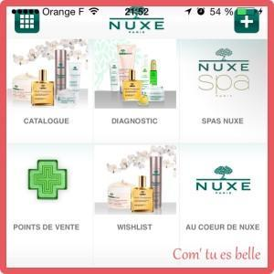 application iphone nuxe
