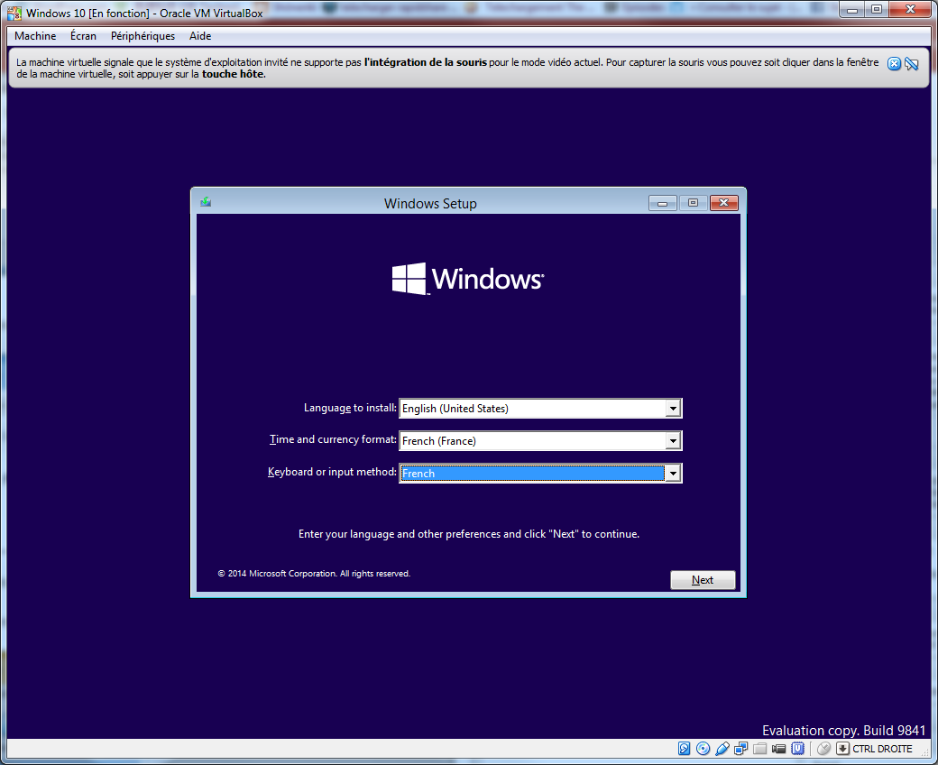 Tester la technical preview de Windows 10 en VM   install 01