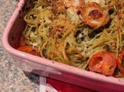 Gratin spaghetti pesto tomates cerises recette flemmard!