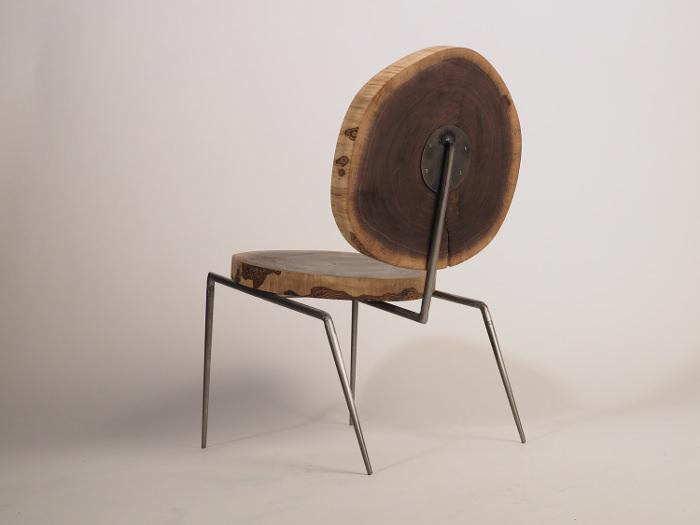Walnut Steel Lounge Chair par Daniel Kaufman