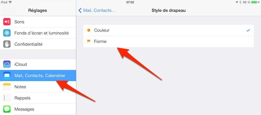 ipad iphone style du drapeau mail iPhone iPad : comment modifier le style du drapeau de lapplication Mail