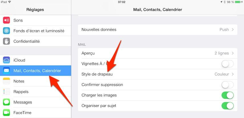 ipad iphone style du drapeau mail 1 iPhone iPad : comment modifier le style du drapeau de lapplication Mail