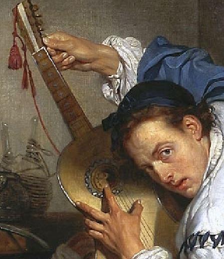 Greuze le_guitariste_dit_un_oiseleur mains