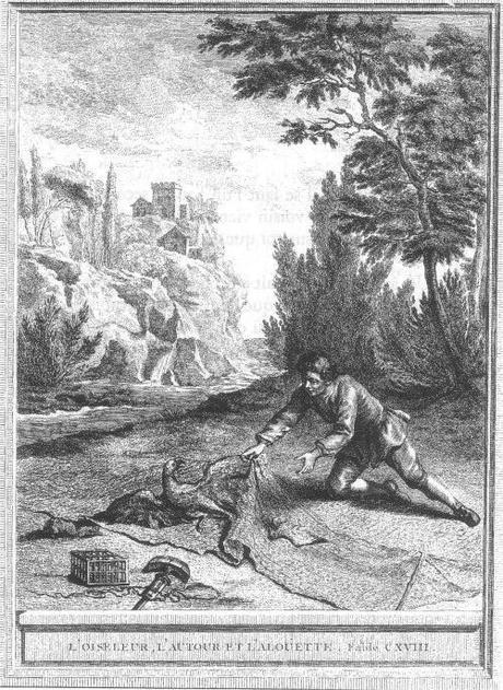 fable de la fontaine - illustration oudry - l oiseleur l autour et l alouette