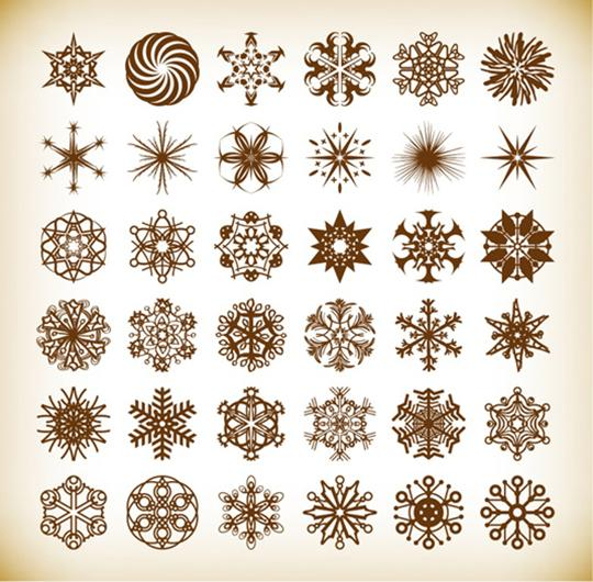 Set-of-Vector-Snowflake-Elements