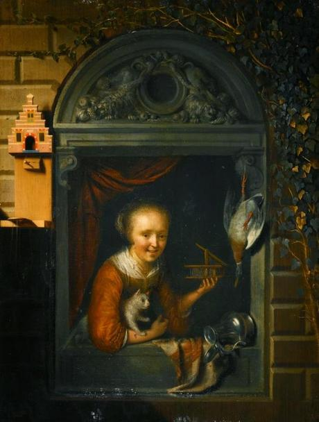 Gerrit Dou - A Young Girl at a Window Ledge with a Cat and Mouse-Trap