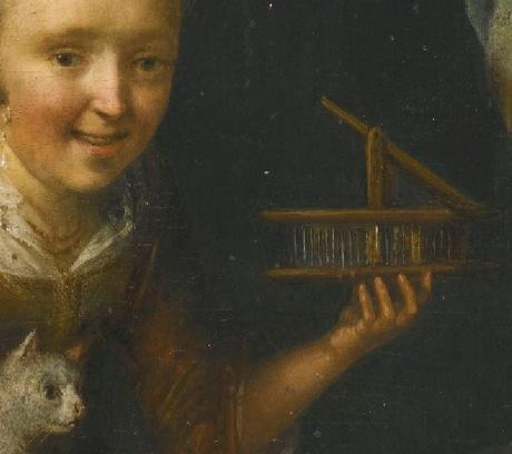 Gerrit Dou - A Young Girl at a Window Ledge with a Cat and Mouse-Trap souricière