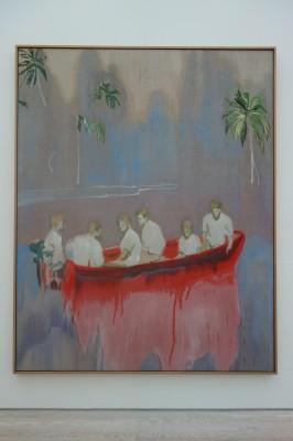Peter Doig Figures in Red Boat, 2005-2007 Huile sur toile, 250 x 200 cm Collection privée, New York © Peter Doig. All Rights Reserved / 2014, ProLitteris, Zürich