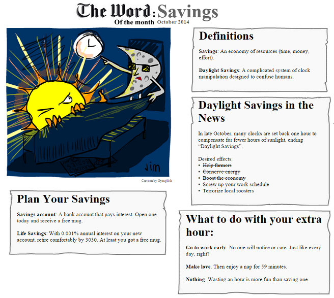 The Word of the Month (OCTOBER 2014) : SAVINGS