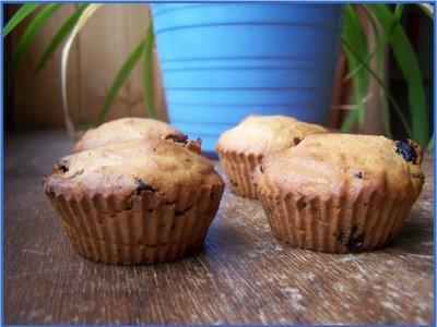 Muffins sans oeufs aux pommes et raisins secs