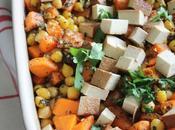 Patate douce pois chiche rôtis tofu fumé (vegan)