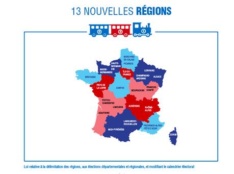 L'infographie présentant les 13 futures régions et une erreur.