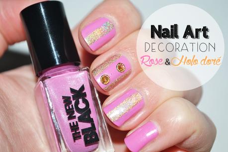 Nail Art Déco - Rose & Holo doré