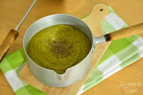 Velouté de légumes verts au basilic