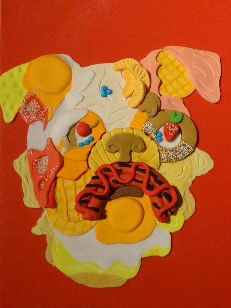 BULLDOG ANGLAIS réalisé en pâte à sucre pour Concours Club du Bulldog Anglais ( j'ai gagné !!!)