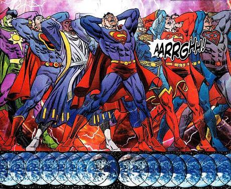 Tous les Superman du multiverse en train de fusionner pendant