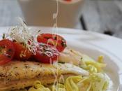 ~Filets sole four avec poireaux salsa tomates l'huile verte~