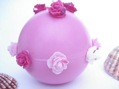 bougie boule roses bonbon