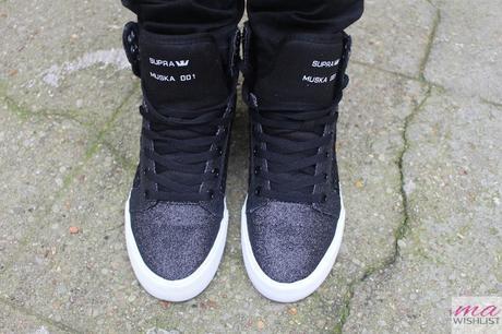 basket sneakers supra noir brillante