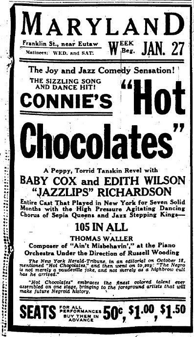 January 27, 1930: Connie's Hot Chocolates with Cab Calloway in Baltimore