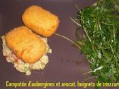 Compotee d'aubergines avocat, beignets mozzarella