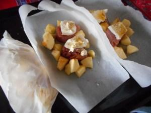 papillotes filet mignon pomme fromage curry 1