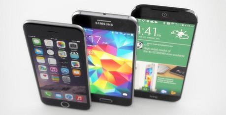 Concepts du GalaxyS6 et du HTCOne(M9) aux côtés de l'iPhone6